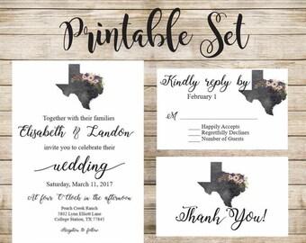 Charcoal Texas Wedding with Flowers Invitation Printable Set