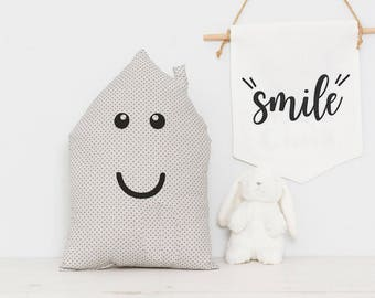 House shaped Decorative Nursery Pillow cushion good for teepee playroom kids pillow or baby crib pillow, nursery decor pillow