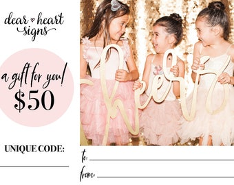 GIFT CERTIFICATE, Dear Heart Signs gift card, printable gift card, gift for her, gift for the bride, Christmas gift, baby shower gift