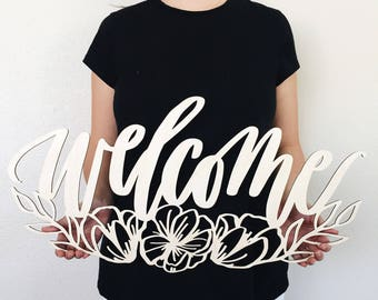 Floral Welcome Laser Cut Wood Sign