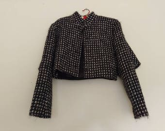Vintage Italian wool cropped cape coat