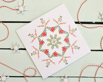 Christmas Card - Festive Antler Mandala - Pattern - Mistletoe - Poinsettia - Holly - Berries - Holiday Greeting Card