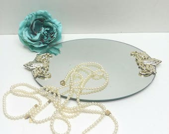 Small Vintage Vanity Tray Mirrored with French Ornate Handles