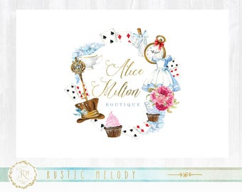 Alice Land logo,Party Logo, party planner logo, events logo, decor logo, boutique logo, photography logo, kids logo,watercolor logo