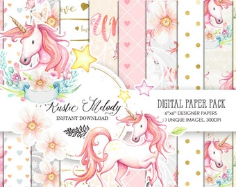 Digital Paper, Unicorn , Baby Shower DIY Decoration, Pastel Cute Planner Stickers, Floral Fabric