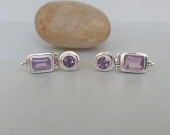 Light Amethyst Sterling Silver Drop Earrings Geometric Purple Rectangular Minimalist Modern Vintage Pierced Earrings UK.