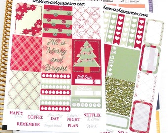 Berry Merry Holiday Mini Weekly Kit  - Weekly Kit Stickers - Vertical Stickers - Vertical Planner Stickers - Mini Vertical Sticker Kit