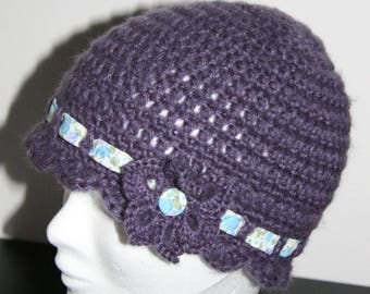 Purple Hat crochet - wool and Liberty Collection