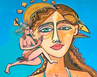 Strong Woman Painting, Feminist, Modern Boho, Figure Portrait, Woman Gift, Handmade Art, Original Painting, 11x14, Girls Room, California