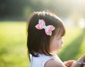 Watermelon Glitter Bow - Medium Summer Bow on Clip, Nylon, or Elastic - Photo Props