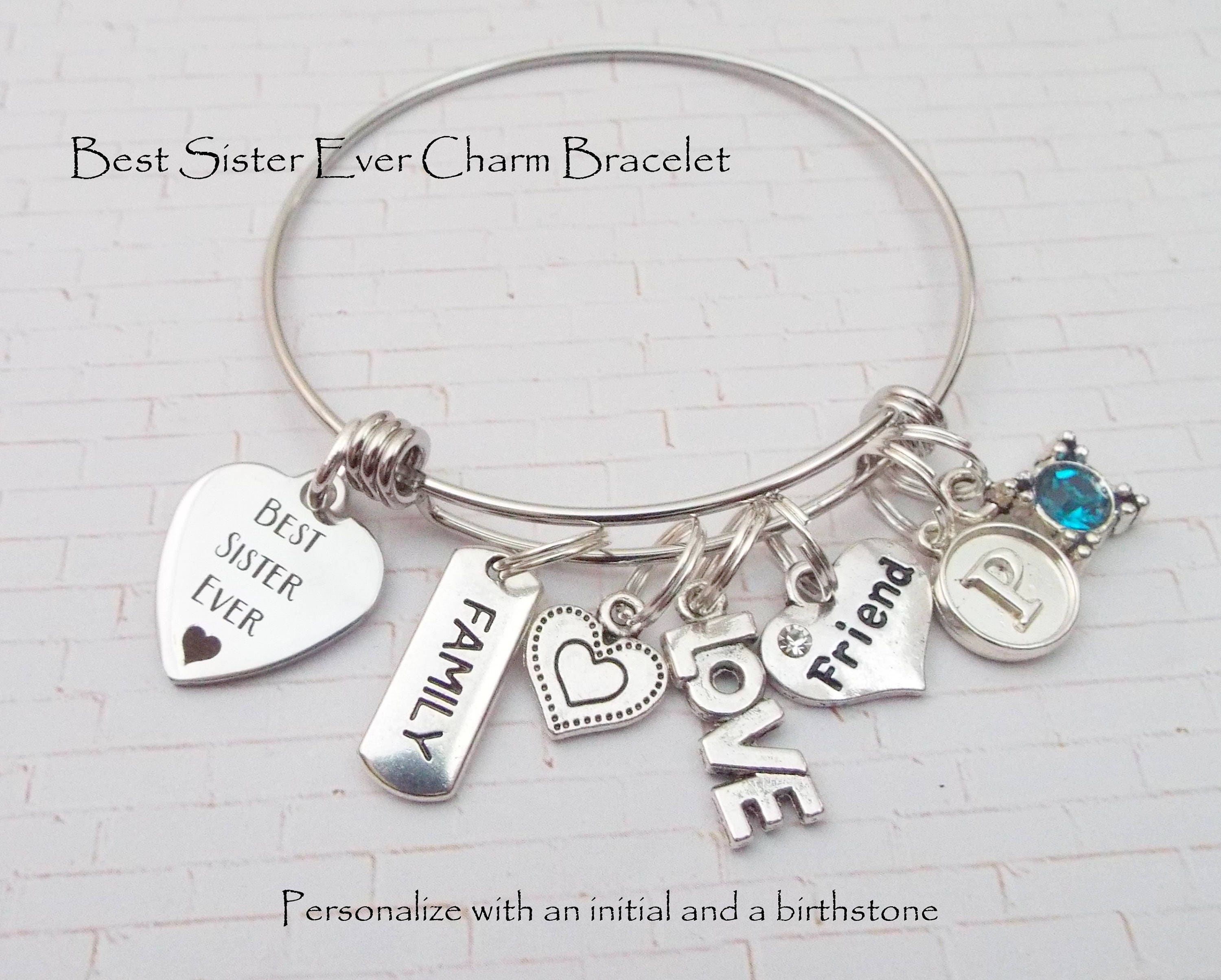Gift for sister sister gift sister charm bracelet sister gift for sister sister gift sister charm bracelet sister christmas gift sister birthday gift personalized gift gift for her sisters negle Gallery
