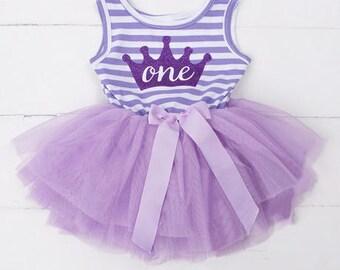 Purple Striped Tutu Dress  (one)