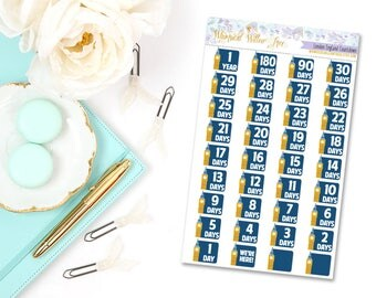 36 London England Countdown Stickers | Perfect For Your Erin Condren Life Planner