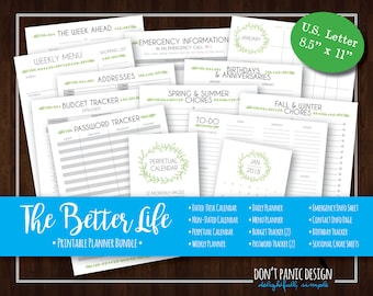 The Better Life Binder - Sweet Leaf Printable Life Binder - Home Organizing Bundle - 2018 Calendar, Planner Pages - Instant Download