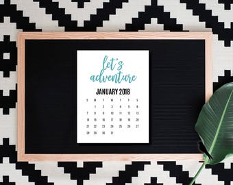 2018 Printable Adventure Desk Calendar - 12 Month Adventure Printable Calendar - 2018 Instant Download Calendar