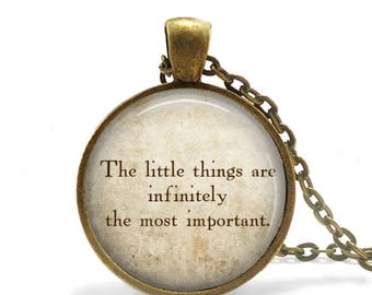 """Sherlock Holmes Quote Pendant Necklace """"The Little Things are infinitely most important"""" Arthur Conan Doyle Literary Quote Pendant keychain"""