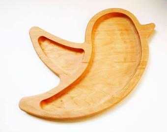 Bird breakfast board - German sandwich board - toddler snack plate - frühstücksbrett - wooden plate - bread board - Waldorf - kids plate
