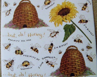 SUSAN BRANCH sticker panel - BEES, Hives, Sunflower rare-htf