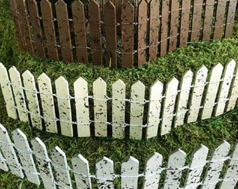 Miniature Flexible Picket Fence - Your Choice of Gray, Ivory, or Brown!