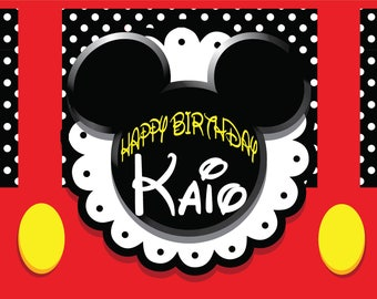 Mickey Mouse Birthday Personalized Printable Backdrop