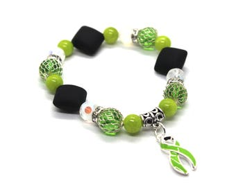 Lyme Disease Warrior, Lyme Diseases Bracelet, Lyme Disease, Lyme Disease Awareness, Lyme Bracelet, Lyme Awareness, Lime Awareness Ribbon