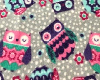 Fleece Big Dog Jacket -  Pink Owls