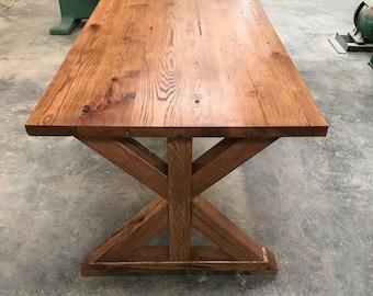 White oak farmhouse table/ Dinning table/ Kitchen table/ trestle base farm table