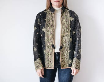 70s Reversible Boho Quilted Jacket, 70s Quilted Jacket, Quilted Jacket, Bohemian Quilted Jacket, Reversible Quilted Jacket, Boho Jacket