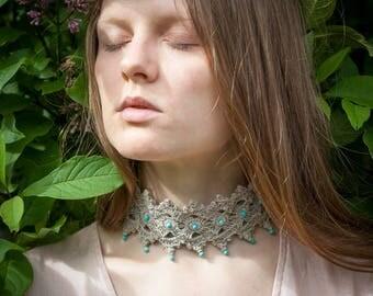 Crochet PATTERN Choker Necklace Bracelet Jewelry Set - Beaded  Wide Wrist - DIY Festival Boho Chic Crochet Jewelry - Celtic - PDF