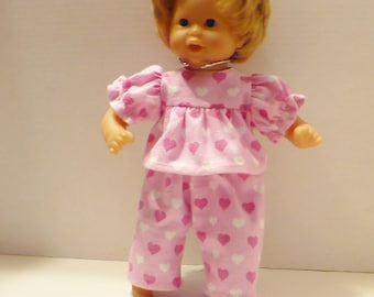 12 in Corolle or Baby Alive Pink Flannel Pajamas with Hearts