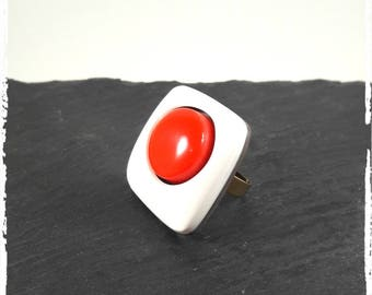 Red and white polymer clay ring