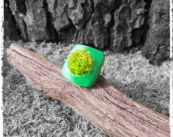 Ring in shades of green lichen and polymer clay