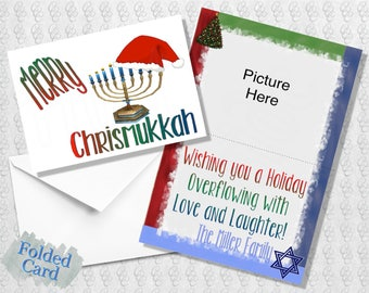 Merry Chrismukkah Holiday Card; Happy Chrismukkah; Hanukkah; Christmas; Green; Red; Blue; Printed; Digital; PDF; Folded; Postcard; Shipped