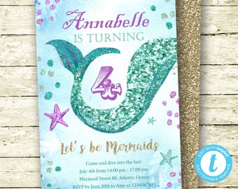 Mermaid Invitation, Mermaid Birthday, Mermaid Glitter Invitation, Mermaid Party, Templett Instant Download, Editable Digital, Mermaid Invite