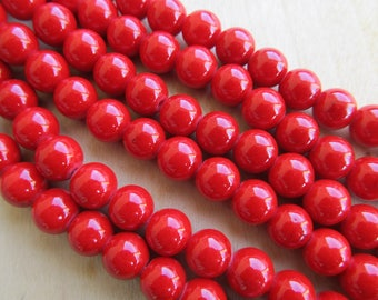 Set of 10 genuine 8 mm dyed jade beads: Red coral.