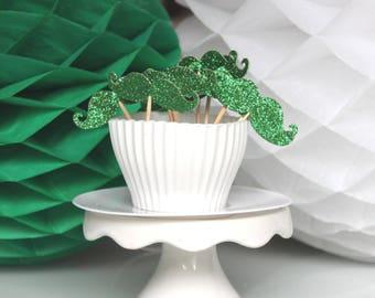 10 décorations pour petits gâteaux (cupcakes toppers ) - moustaches vertes à paillettes
