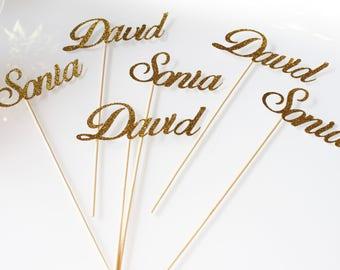 "6 mini skewers ""name"" in glitter paper gold wedding"
