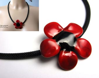Chain with large red black glass flower