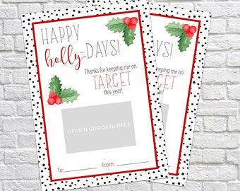 Printable Christmas Gift Card Holder, Thank You Gift Card Holders, Christmas Gift, Target Gift Card, Teacher's Gifts, Thank You Card
