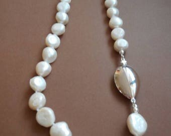 Antique necklace silver vintage clasp in real pearls
