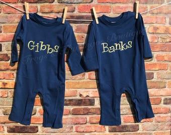 Boys Long Sleeved Romper with your choice of applique, monogram initials, or saying