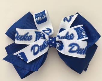 DUKE Hair Bow, Blue Devils Bow, Duke University Hair Bow, Duke Bow with Duke Logo