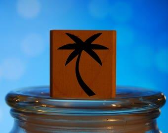 Bent Palm Tree Rubber Stamp Mounted Wood Block Art Stamp