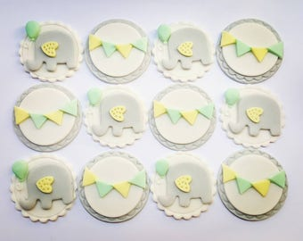 12 x elephant baby shower cupcake toppers