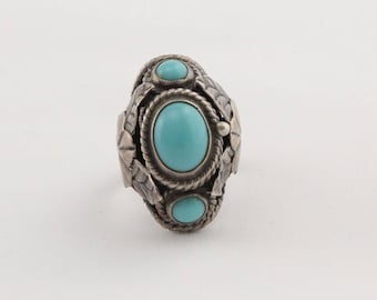 Vintage Mexico handmade ethnic sterling silver turquoise adjustable poison ring w/ hinged box signed SBR