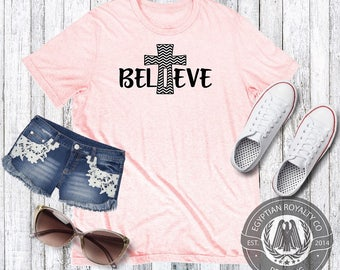 Believe T-shirt,Womens T-shirt,Womens Gift,Printed T-shirts,Shirts with Quotes, Womens Graphic Tees,Ladies Shirt,Tshirts
