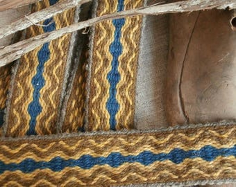 Tablet woven band, blue, yellow, brown, natural grey. Naturally plant dyed wool trim. Viking reenactment, medieval historical braid
