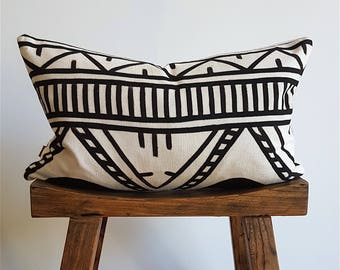 African Authentic Mudcloth Cushion Cover, Fair Trade, Organic, West African Bogolon, Pillow