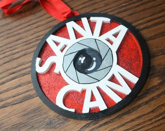 Handpainted 3D Santa cam wooden tree decoration