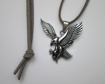 Velour Ribbon pendant necklace with Eagle 40 mm Indian jewelry